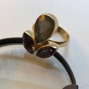 Anthropologie gold ring amethyst labradorite 7